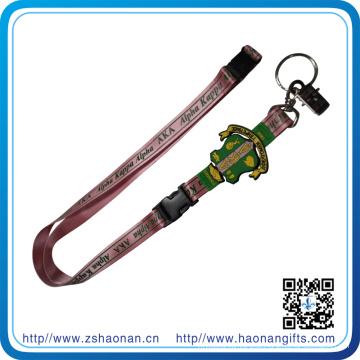 Sublimationsdruck Schlüsselband Lanyard mit PVC-Wappen, Bulldop Clip und Split Ring