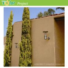 Top vente inox mur léger avec batterie avec panneau solaire de 4W