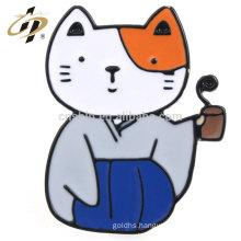 Hot sale black nickle metal custom enamel cat pet badges