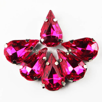 Sew On Fuchsia Diamante Rhinestone Silver Setting