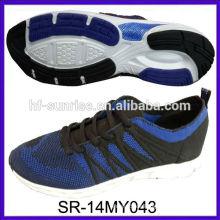 SR-14MY043 diseño de la manera nuevo hizo punto los zapatos de los pijamas de las partes superiores del knit calza los zapatos corrientes de los hombres de los deportes de la tela del knit