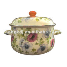 enamel stock pot with full design and wooden knob
