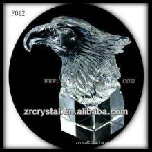 K9 mão de cristal esculpida águia cabeça