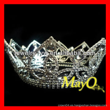 Corona completa del rezo de la reina cristalina, coronas y tiaras al por mayor del desfile, coronas redondas para la venta