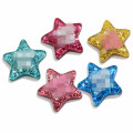Großhandel Kawaii Glitter Lucky Star Resin Crafts Flat Back Stars Cabochons für Haarspange Haarnadel DIY Craft Schmuck Dekoration
