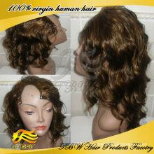 Бразильские человеческие волосы парик светло-коричневый с черный подчеркивает цвет U часть парики