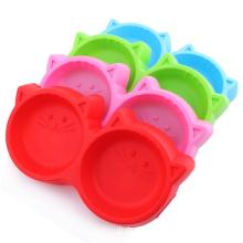 Plastic Pet Bowl Dog Food Double Bowl