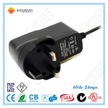 Prise murale 12 W adaptateur cc 6v 2a alimentation 6 volts adaptateur de commutation 2 ampères