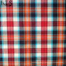 Tissu tissé de fil de popeline de coton teint pour des chemises / habillement Rls40-43po de vêtements