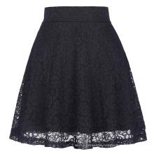 Kate Kasin Women Ladies Floral Pattern Lace Skirt A-Line Black Mini Skirt KK000445-1