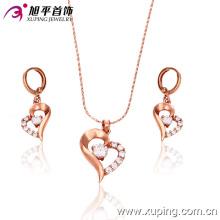 Los amantes de los regalos de oro rosa chapado corazón conjunto de joyería (63105)