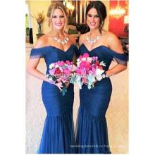 Бесплатная доставка высокое качество темно-Русалка платья невесты длинные Плиссированные vestido де феста Лонго с плеча сексуальное ML117
