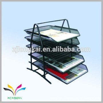 Office supply black metal wire mesh 5 tiers document holder