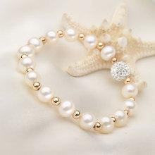 Bracelet en perles de perles de perles et de perles naturelles naturelles de 7-8mm avec élastique (E150031)