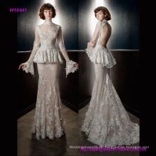 Volle Verschönerung Peplum viktorianischen Vintage Braut langen Ärmeln Sheer High Neck Sweetheart Ausschnitt Mantel Brautkleid mit Schlüsselloch zurück und Sweep Zug