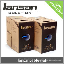 UTP CAT 6 cabo de 250Mhz, 4PR 24AWG Cobre maciço, PVC / LSOH, ETL / UL / ROHS, LANSAN