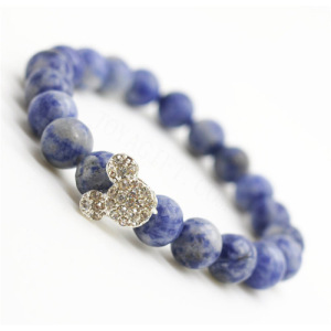 Sodalite Gemstone Bracelet avec alliage de Diamante Mickey Piece