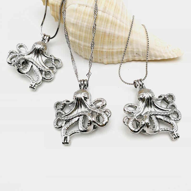 Alloy Ocean Octopus Cage Pendant Necklace