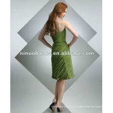 Плиссированная шифоновая с простым поясом на талии платье для коктейля