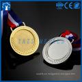 oro personalizado, plata, medalla de inserción en blanco de metal de bronce