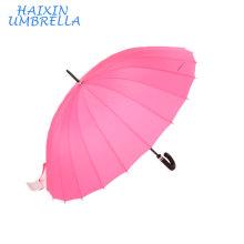 """Супер 27"""" длинные оптом китайские розовые женские ручки ручного открытия 24 ребра прямо трость большой дождь зонтик для продажи"""