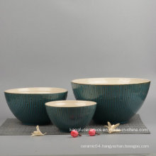 3PCS Glazed Ceramic Dinnerware Set Bowl