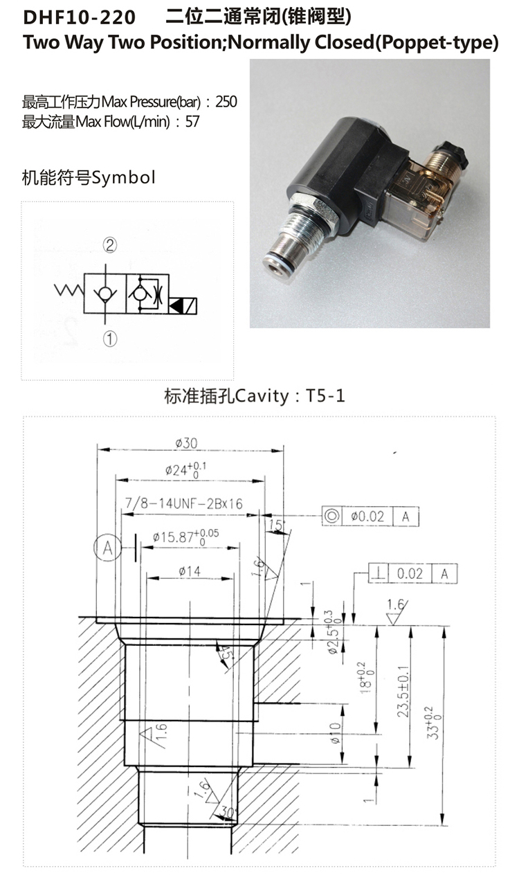 2-way 2-stage Solenoid Operated Directional Poppet Valve