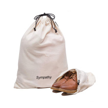Personalized custom print logo cotton canvas grocery storage drawstring bag for shoes