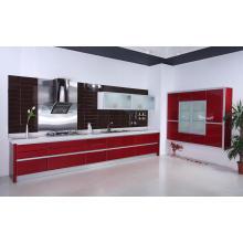 L Shape Red MDF Lacquer Kitchen Cabinet (pl-m-051)