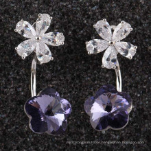 Silver Cubic Zirconia Crystal Diamond Stud Dangle Earrings