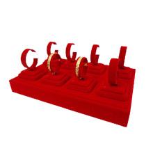 8 Clips Red Velvet Jewelry Bangles Display Tray (TY-8BGL-RV)