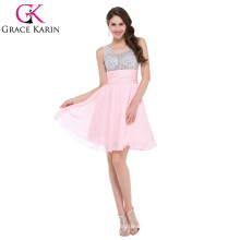 GK ärmelloses kurzes wulstiges rosa Cocktailkleid CL7508-1