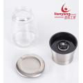 glass manual salt and black pepper mill grinder