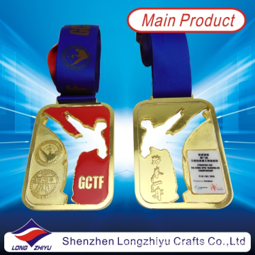 2014 Newest Custom Sport Medals Gold Taekwondo Medal with Epoxy Domed (lZY-201300046)