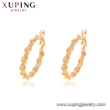 95112 Top selling popular women jewelry 18k gold plated simple style hoop earrings