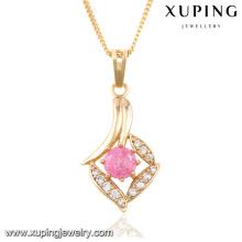 32667 Fashion Elegant Rhinestone CZ 18k colgante de cadena de joyería de imitación chapado en oro