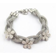 Серебряный браслет из нержавеющей стали с циркониевыми цветочными завитками