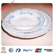 Shangdong Cheap Porcelain Cut Edge 5 '' 6 '' 7 '' 8 '' 9 '' Soupe Plaques Avec 3 Fleurs & Or Rim Trim Argent Rim Ligne Jaune