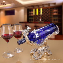 High class luxury indoor decorative statue resin crafts red wine rack for home decoration