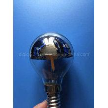 G80 Bombilla de filamento LED de espejo de plata