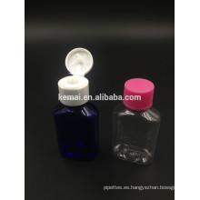 Botella plástica de la botella de la botella de la forma plana 30ml con el casquillo