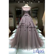 Nuevo diseño de una línea de vestido de novia 2016 vestido de bola Appliqued kaki vestido de noche largo