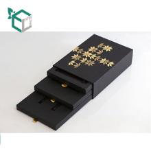 High Quality Custom Logo Foil Stamping Cardboard Black Card Paper Office Stationery Storage Box