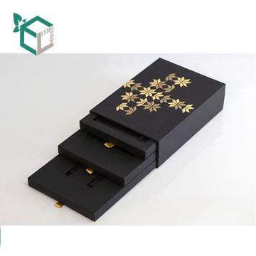 Высокое Качество Пользовательского Логотипа Тиснение Фольгой Картон Черная Бумага Карточки Канцелярские Ящик Для Хранения