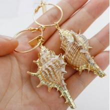 Womens Golden Accent Ocean Seashell Couch Mermaid Sea shell Witch Drop Dangle Earrings