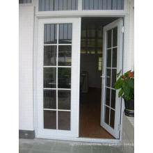 French Style Grill Design Double Tempered Glass Aluminum Casement Door