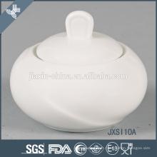 En gros nouveau design durable blanc rond en porcelaine sucre pot
