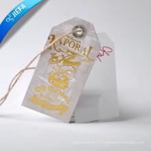 Étiquette en papier d'aluminium chaud / étiquette en PVC avec œillet, corde de chanvre