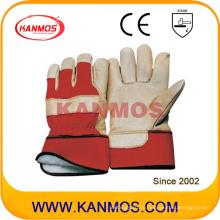 Желтая свинцовая кожаная зимняя рабочая рабочая перчатка (22303)