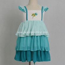 High quality embroidered chiffon ruffle dress
